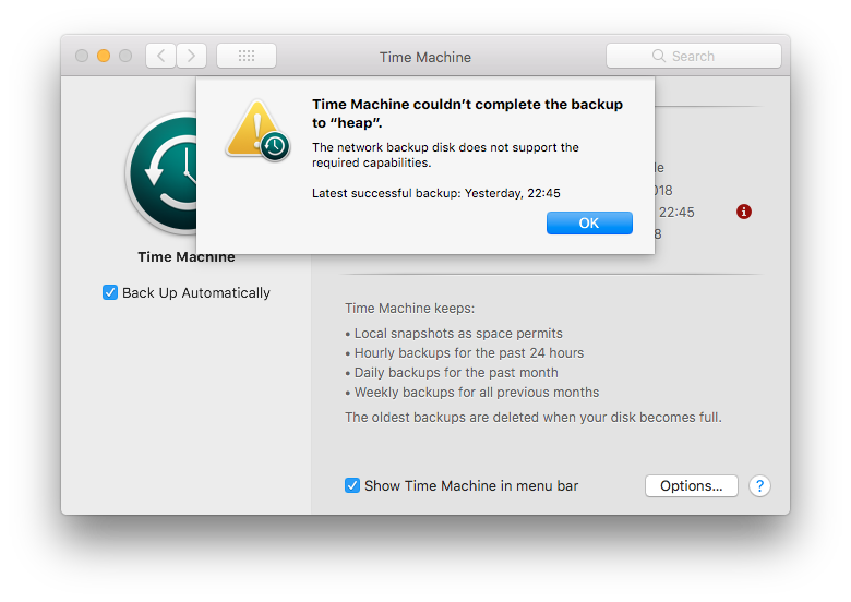 "MacOS System Preferences Time Machine Preference Pane: Time Machine couldn't complete the backup to ""heap"". The network backup disk does not support the required capabilities."